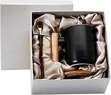 Lailongp 13oz Holzgriff Kaffeetasse mit Deckel und