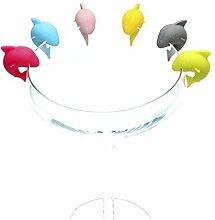 Lalang 6st Hai Silikon Weinglas Charme Glasmarkierer Anhänger Dekoration