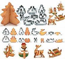 Lalang 8 PCS Weihnachten Backen Set Edelstahl Biskuit Form DIY Backen Werkzeuge Biskuitschimmel