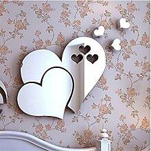 Lalang Dreidimensional Herz Form Wand Aufkleber Badezimmer Spiegel Wasserdicht Wandtattoo (Silber)