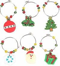 Lalang Weihnachten Dekoration Weinglas Metall Anhänger - Weihnachtliche Tischdekoration Ornamente Getränk Markierung (001#)