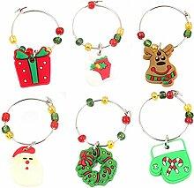 Lalang Weihnachten Dekoration Weinglas Metall Anhänger - Weihnachtliche Tischdekoration Ornamente Getränk Markierung (002#)