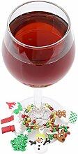 Lalang Weihnachten Tischdekoration Weinglas Glasmarkierer Anhänger Flaschenhals Schmuck Dekoration