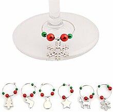 Lalang Weihnachten Weinglas Dekoration Weihnachts Weinglas Metall Anhänger - Weihnachtliche Tischdekoration Ornamente Getränk Markierung (silber)