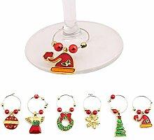 Lalang Weihnachten Weinglas Dekoration Weihnachts Weinglas Metall Anhänger - Weihnachtliche Tischdekoration Ornamente Getränk Markierung (golden)