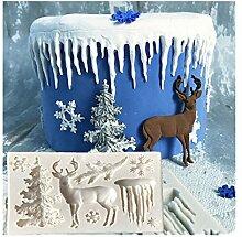 Lalang Weihnachtsbaum, Rentier, Schneeflocken Kuchenform Fondant Schokolade Form DIY Backen Formen Dekorieren Werkzeuge