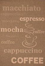 Lalee  347180448  Teppich / Sisal Optik / Flach / Küche / Muster : Kaffee Bistro / Braun / Grösse : 120 x 170 cm