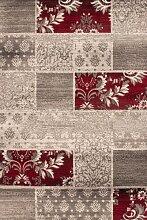 Lalee 347221936 Moderner Designer Teppich Muster Patchwork Neu Größe 190 x 280 cm , silber / ro