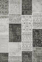 Lalee 347222964 Lalee Designer Teppich 3D Hoch - Tief Muster Patchwork Glitzer Größe 80 x 300 cm, silber