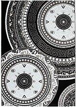 Lalee 347229482 Lalee Klassischer Teppich Muster Klassik Kreise Glitzer Größe 80 x 150 cm, schwarz