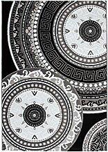 Lalee 347229505 Lalee Klassischer Teppich Muster Klassik Kreise Glitzer Größe 120 x 170 cm, schwarz