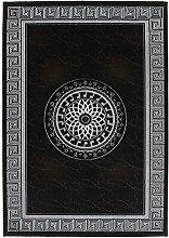 Lalee 347247615 Edler, Hochwertiger Designer Teppich mit Bordüre und Kreis mit Lurex Garn, 3D Optik, 80 x 300 cm, schwarz / silber