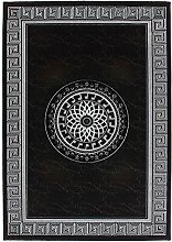 Lalee 347247646 Edler, Hochwertiger Designer Teppich mit Bordüre und Kreis mit Lurex Garn, 3D Optik, 200 x 290 cm, schwarz / silber