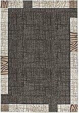 Lalee 347248230 Moderner und trendiger Teppich mit Bordüren Design melliert, 60 x 110 cm, silber / creme