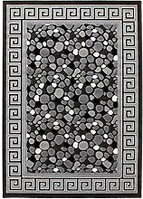 Lalee 347249275 Moderner Designer Teppich mit Lurex Garn mit Bordüre und Stein Muster, 3D Effekt!, 80 x 150 cm, silber / grau