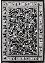 Lalee 347249282 Moderner Designer Teppich mit Lurex Garn mit Bordüre und Stein Muster, 3D Effekt!, 80 x 300 cm, silber / grau