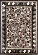 Lalee 347249336 Moderner Designer Teppich mit Lurex Garn mit Bordüre und Stein Muster, 3D Effekt!, 80 x 300 cm, braun / beige
