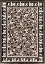 Lalee 347249343 Moderner Designer Teppich mit Lurex Garn mit Bordüre und Stein Muster, 3D Effekt!, 120 x 170 cm, braun / beige
