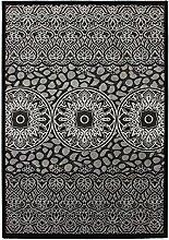Lalee 347249473 Exklusiver Designer Teppich mit Lurex Garn, 3D Effekt!, 80 x 150 cm, silber / schwarz