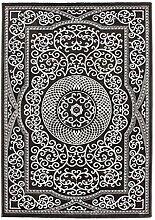 Lalee 347249534 Klassischer Teppich in orientalischem Design mit Lurex Garn, 80 x 300 cm, creme / grau