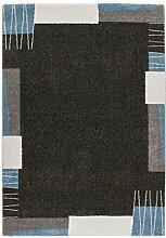 Lalee 347250196 Hochwertiger Designer Teppich mit modernem Bordüren Muster, 200 x 290 cm, grau / silber / blau