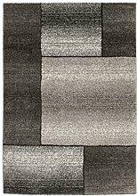 Lalee 347250578 Hochwertiger Designer Teppich mit modernem Kasten Muster melliert, 80 x 300 cm, grau / silber