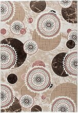 Lalee 347253302 Hochwertiger Designer Teppich mit mellierten Kreisen und Lurex Garn - 3D Optik, 80 x 150 cm, braun / pink / beige