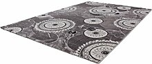 Lalee 347253388 Hochwertiger Designer Teppich mit mellierten Kreisen und Lurex Garn - 3D Optik, 80 x 150 cm, silber / grautönen