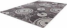 Lalee 347253395 Hochwertiger Designer Teppich mit mellierten Kreisen und Lurex Garn - 3D Optik, 80 x 300 cm, silber / grautönen
