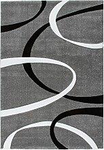 Lalee 347255009 Hochwertiger Designer Teppich mit Konturenschnitt, Muster: Modern Art, 160 x 230 cm, silber / schwarz / weiß