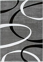 Lalee 347255016 Hochwertiger Designer Teppich mit Konturenschnitt, Muster: Modern Art, 200 x 290 cm, silber / schwarz / weiß