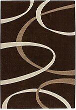 Lalee 347255023 Hochwertiger Designer Teppich mit Konturenschnitt Muster: Modern Art, 80 x 300 cm, braun / beige