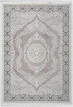 Lalee Klassisch-Moderner 3D Teppich, Silber, 160 x