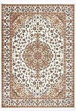 Lalee Klassischer Teppich mit Seidenoptik, Creme,