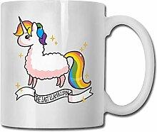 Lama-Einhorn-Mode-Kaffeetasse-Porzellan-Becher