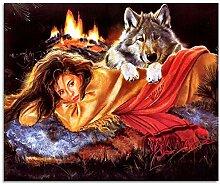 LAMAMAG Malen nach Zahlen Wolf Und Schönheit