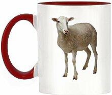 Lamb Bild Design zweifarbige Becher mit roter Griff & Innen
