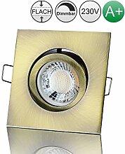 lambado® Premium LED Spot 230V Flach Altmessing -