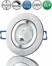 lambado® Premium LED Spot IP44 Flach Edelstahl