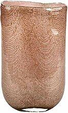 Lambert Cellini Vase oval Glas mit Kupfernetz Rose