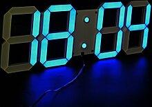LambTown Große Display LED Digital Wanduhr mit Fernbedienung, 15cm / 6-Zoll Tall Digits Countdown Count Up Stoppuhr Wall Timer mit Temperaturkalender für Haus, Fitnessraum, Büro, Kirche - Blau