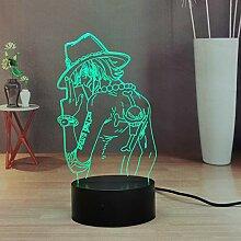 Lamchim One Piece Luffy Zoro 3D Anime Lamp, Touch