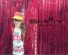 Lametta Folie fringe-backdrop-21ftx8ft-red Metallic Tür Fenster Vorhang Party Dekoration (7 Stück)