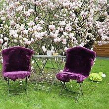 Lammfell geschoren - VIOLETT FARBEN Merino Lammfell Läufer Dekoration Sitzunterlage Größe 110-120, Farbe Flieder