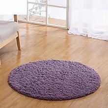 Lammfell runden Teppich Einfache Schlafzimmer Bett Wohnzimmer Couchtisch dicken Volltonfarbe Computerstühle für Hausgebrauch Teppich-I diameter120cm(47inch)