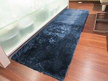 Lammfell Teppich Couchauflage Bettvorleger 140x60cm (Kurzflor) marine blau