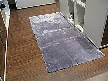 Lammfell Teppich Couchauflage Bettvorleger 195x60cm (Kurzflor) silber
