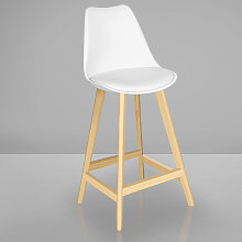 LAMOCA Bistro Barhocker | Weiß + Sitzkissen |