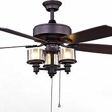 LAMP®-Holz-Blatt-Decken-Ventilator-Ventilator Retro- chinesisches Fan-Licht-Wohnzimmer-Restaurant-Haushalts-Decken-Ventilator-Ventilator-Lampe mit Lampe-Decken-Ventilator