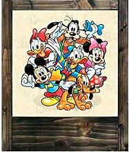 Lampe aus Holz Disney–Figuren